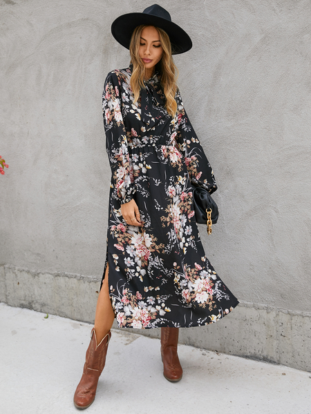 YOINS Random Floral Print High Slit Tie-up Long Sleeves Maxi Dress