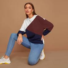 Mock-neck Color Block Sweatshirt