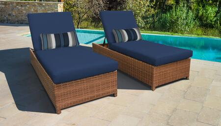 Laguna Collection LAGUNA-W-2x-NAVY Set of 2 Chaises - Wheat and Navy