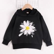 Sweatshirt mit Blumen Muster, sehr tief angesetzter Schulterpartie und Kapuze