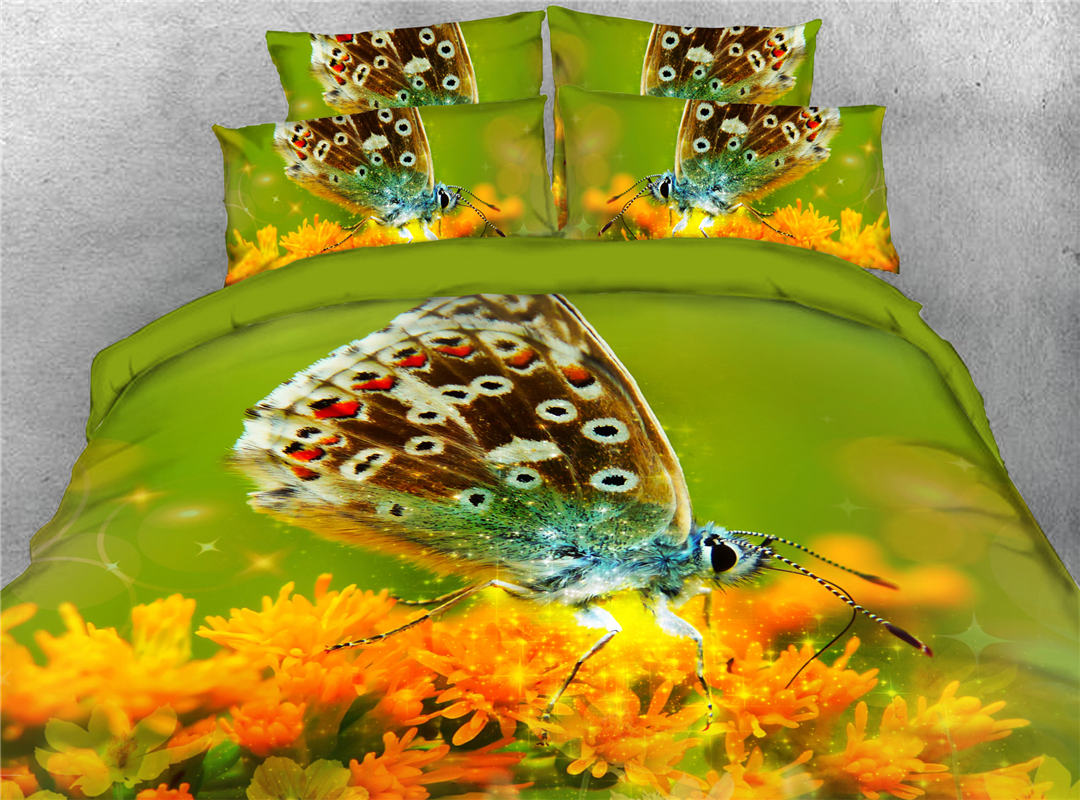 Flying Butterflies on The Flower Hand Wash Five-Piece Set Comforter Set Polyester All-Season Ultra-soft Bedding Sets