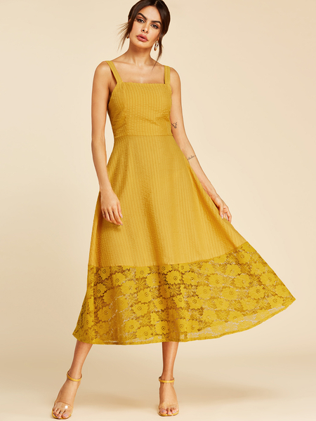 Yoins Yellow Backless Design Square Neck Hollow design Dress