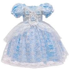 Toddler Girls Puff Sleeve Lace Overlay Princess Dress
