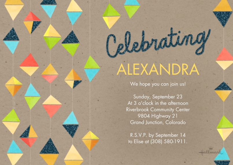 Birthday Party Invites Flat Matte Photo Paper Cards with Envelopes, 5x7, Card & Stationery -Celebrate Hanging Triangles