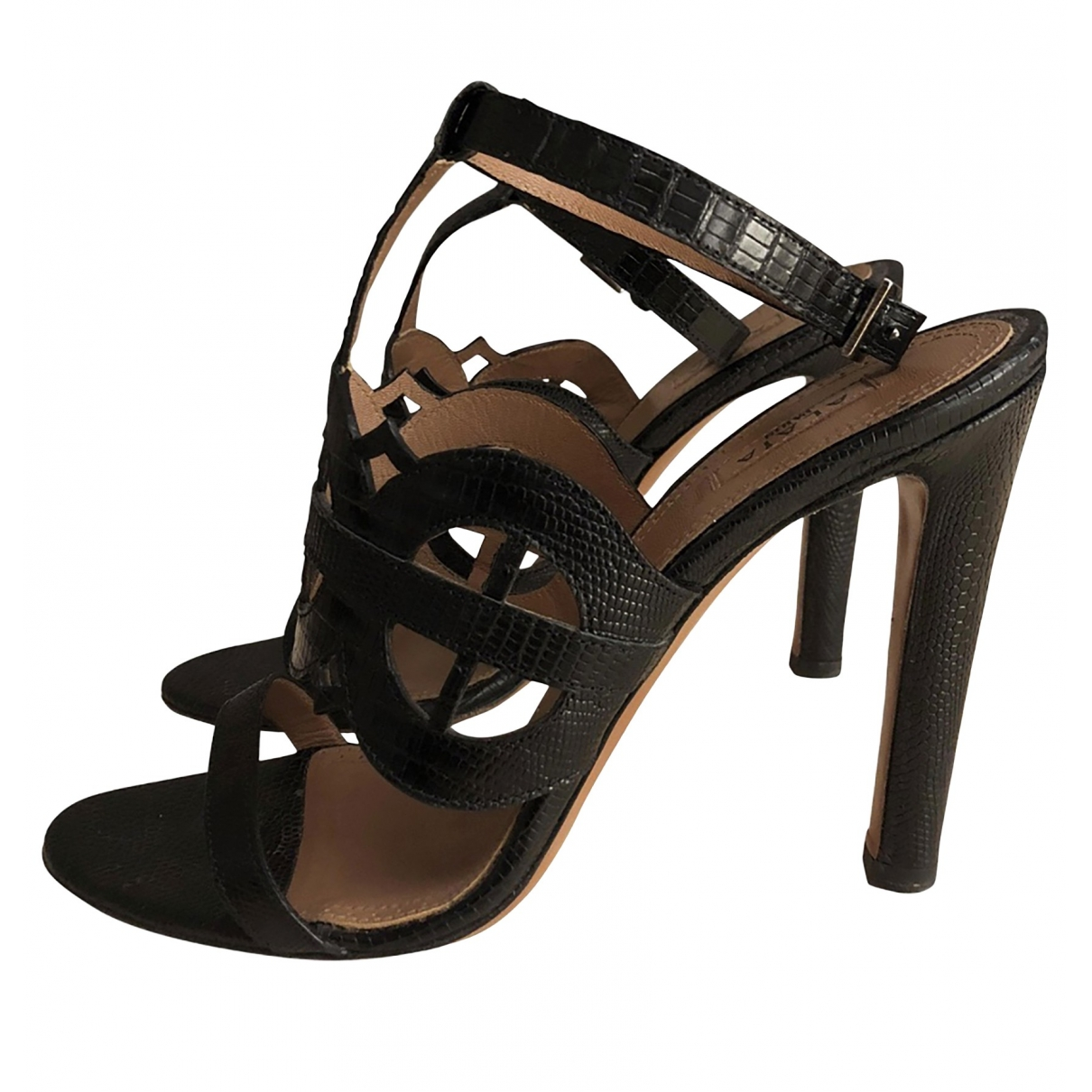 Alaïa \N Black Exotic leathers Sandals for Women 38.5 EU