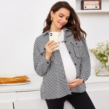 Maternity Flap Pocket Front Fold Pleated Back Houndstooth Coat
