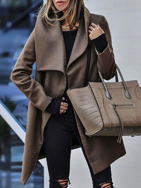 Milanoo Women Winter Coat Turndown Collar Classic Deep Brown Outerwear
