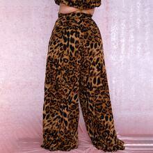 Pantalones de pierna ancha de leopardo de cintura alta