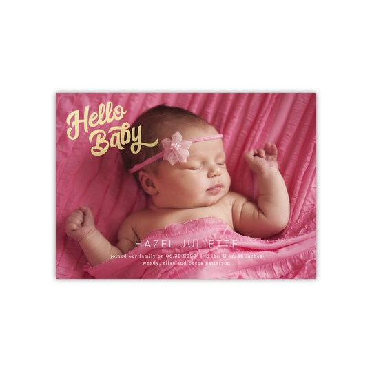 20 Pack of Gartner Studios® Personalized Hello Baby Flat Baby Announcement in Blush | 5