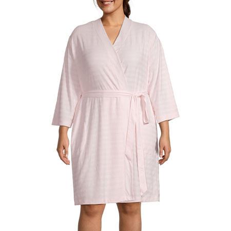 Liz Claiborne Textured Womens-Plus Robe Long Sleeve Knee Length, 2x , Pink
