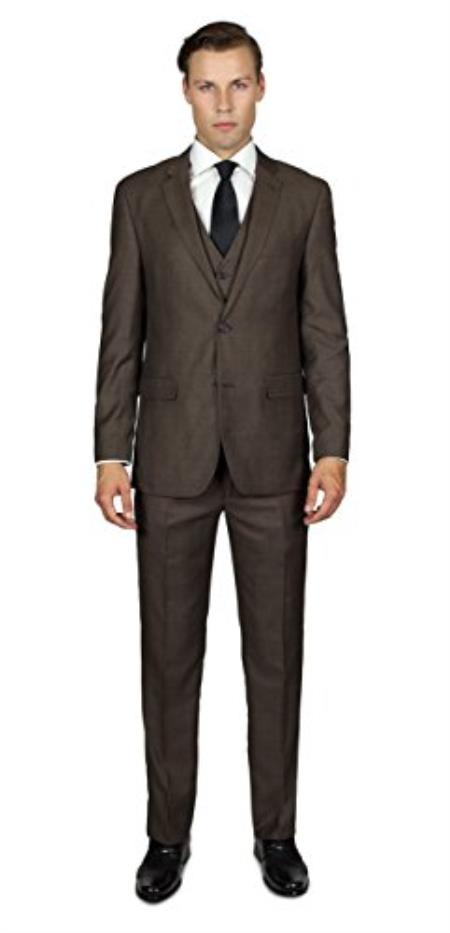 Mens Mocha 2 Button Three Piece TR Blend Suit