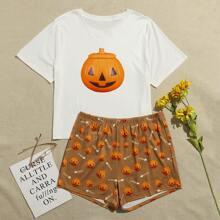 Schlafanzug Set mit Halloween Tuerkis Muster