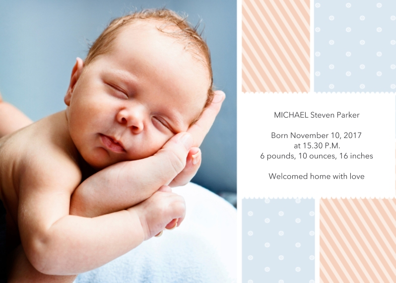 Baby Announcements 5x7 Folded Cards, Premium Cardstock 120lb, Card & Stationery -Stripes & Polka Dots Announcement
