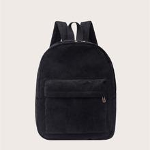 Minimalistische Kord Rucksack mit Taschen vorn