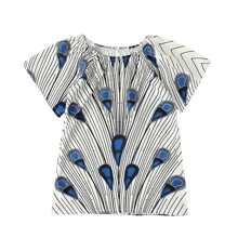 Kleid mit Streifen, Geo Muster und Puffaermeln