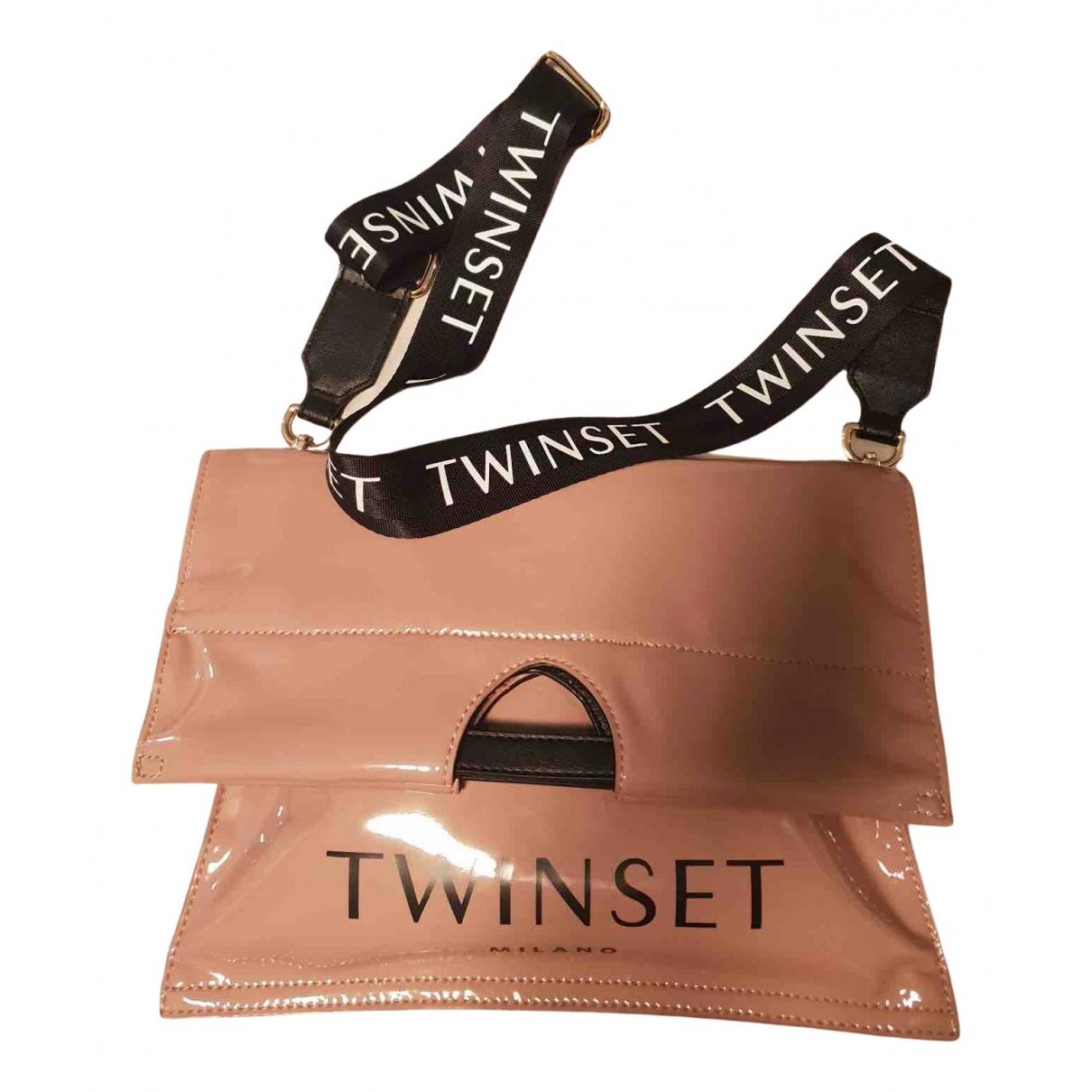 Twin Set - Sac a main   pour femme en cuir verni - rose