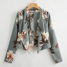 Jacke mit Wassertropfen Kragen und Blumen Muster