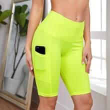 Wideband Waist Biker Shorts With Phone Pocket