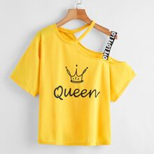 Asymmetrical Neck Letter Graphic Tee