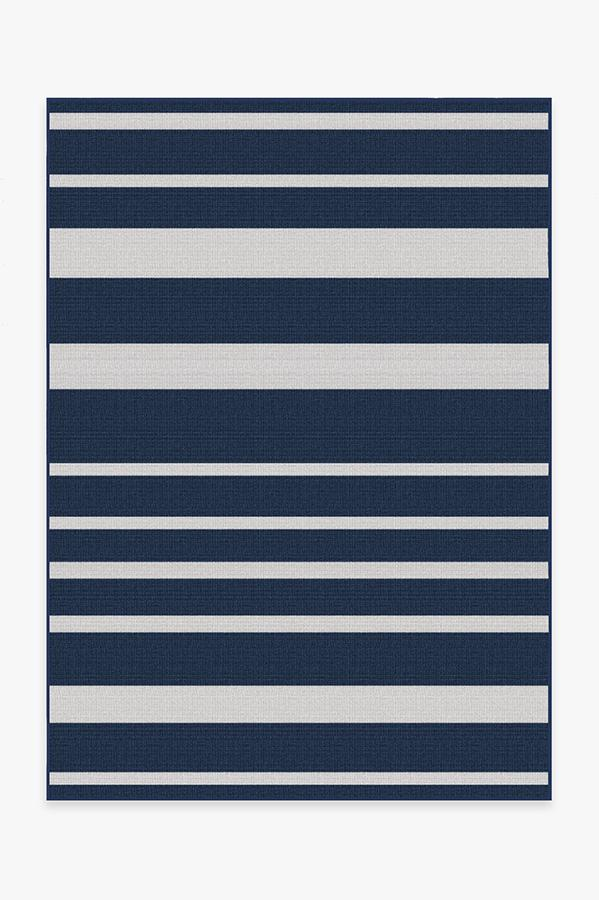 Washable Rug Cover & Pad   Outdoor Sailmaker Stripe Blue Rug   Stain-Resistant   Ruggable   5'x7'