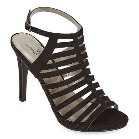 Worthington Womens Loomer Open Toe Stiletto Heel Pumps, 7 1/2 Medium, Black