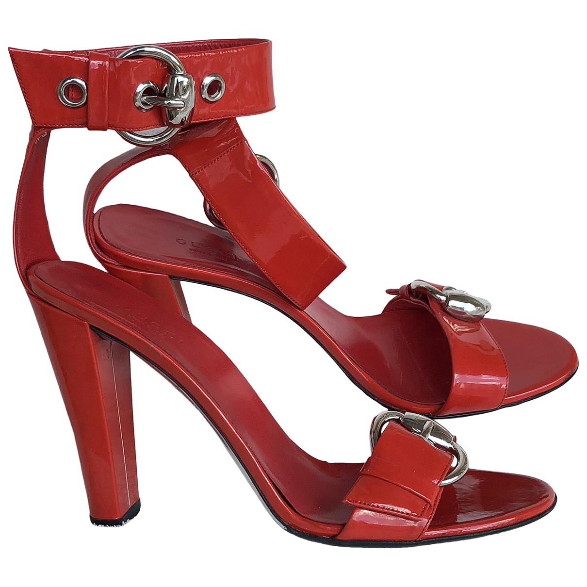 Gucci - Sandales   pour femme en cuir verni - rouge