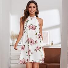 Kleid mit Band hinten, Blumen Muster und Neckholder