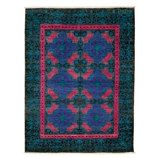 ECARPETGALLERY  Hand-knotted Lahore Finest  Turquoise Wool Rug - 5'3 x 7'0 (Turquoise - 5'3 x 7'0)