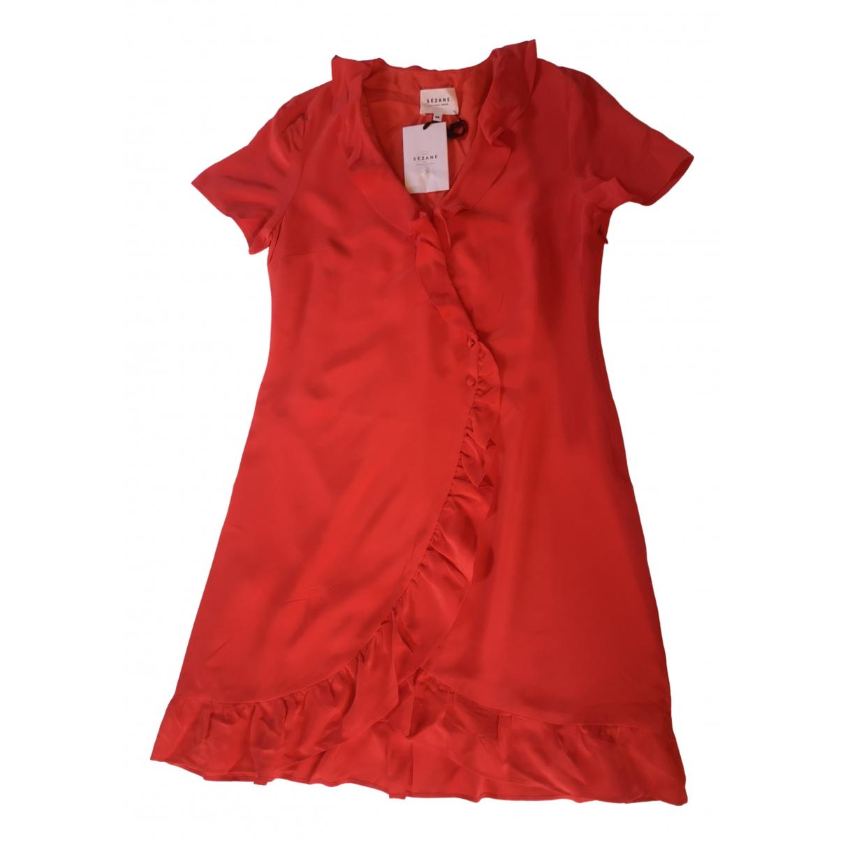 Sezane Spring Summer 2019 Kleid in  Rot Seide