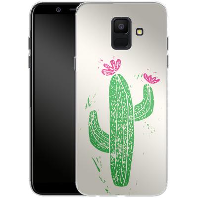 Samsung Galaxy A6 Silikon Handyhuelle - Linocut Cacti von Bianca Green