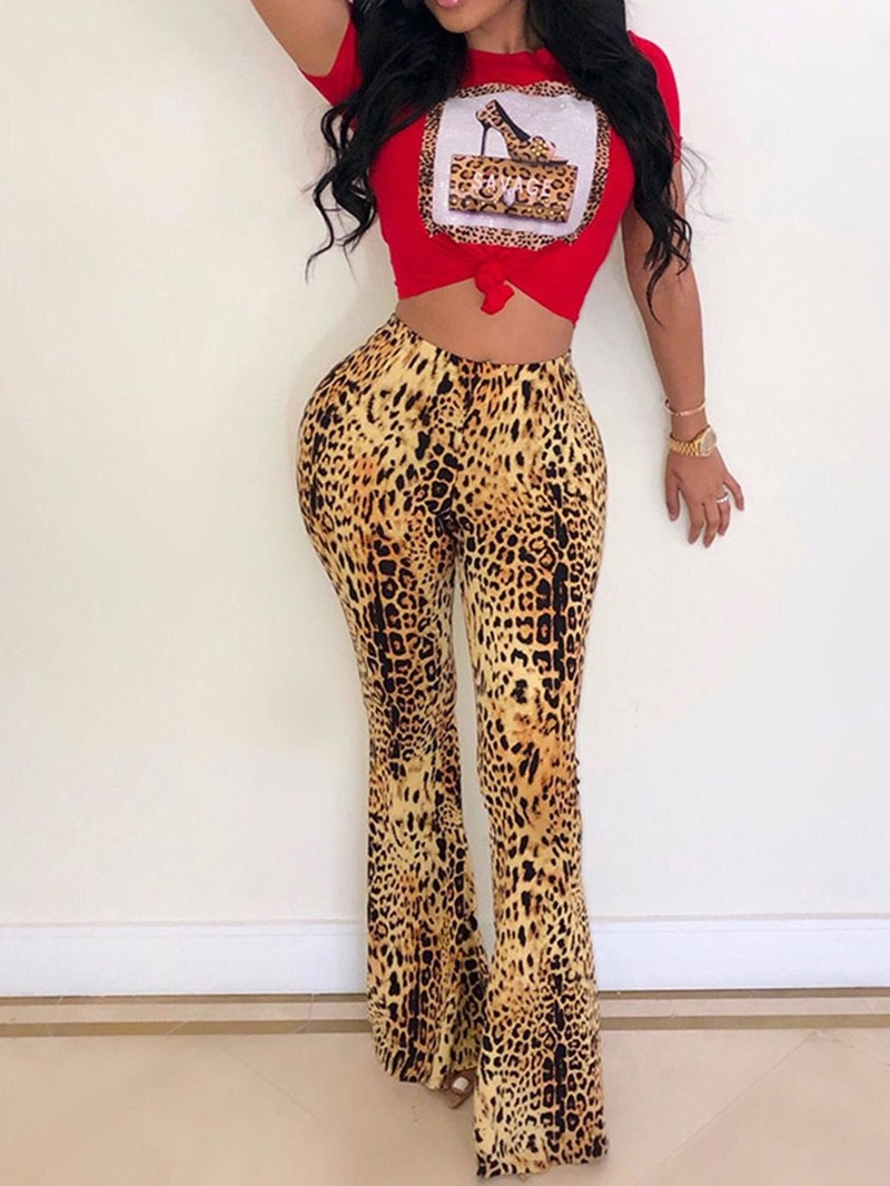Ericdress Leopard Print Casual T-Shirt And Pants Two Piece Sets