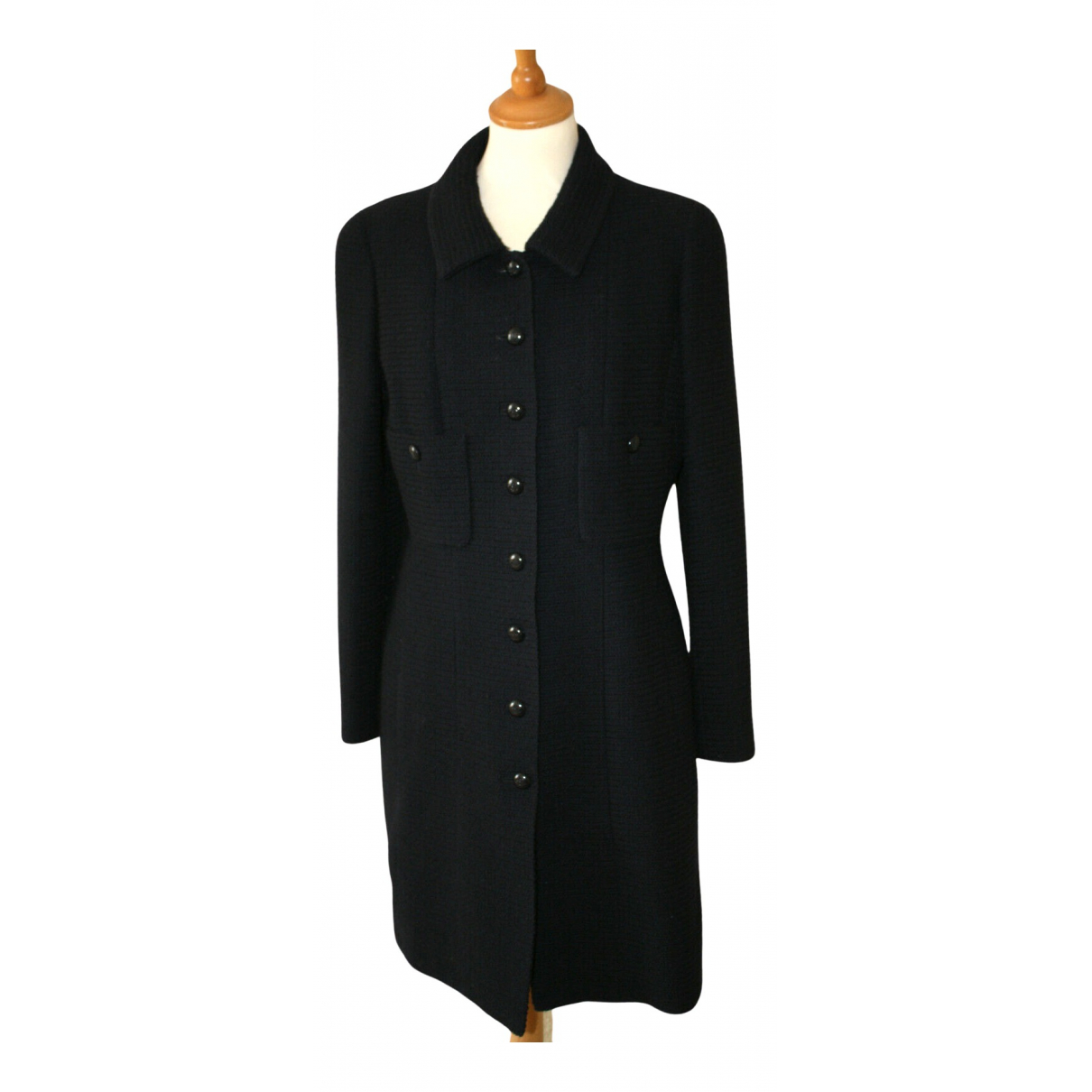 Chanel N Black Tweed coat for Women 42 FR