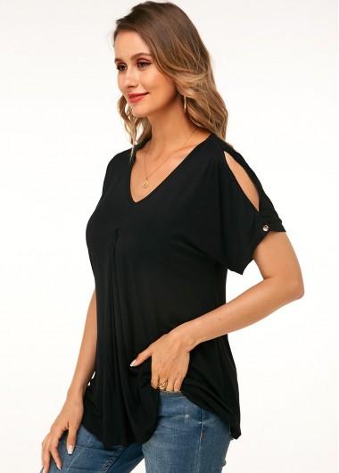 V Neck Casual Black Cold Shoulder T Shirt - M