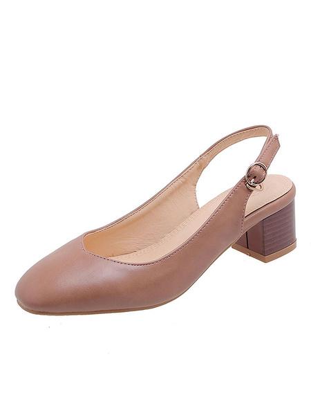 Milanoo Zapatos de tacon de bloque para mujer Slingbacks Punta cuadrada Tacones bajos Bombas desnudas