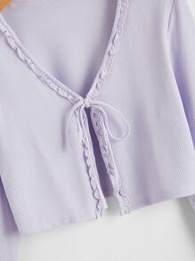 Frill Trim Tie Front Ribbed Top