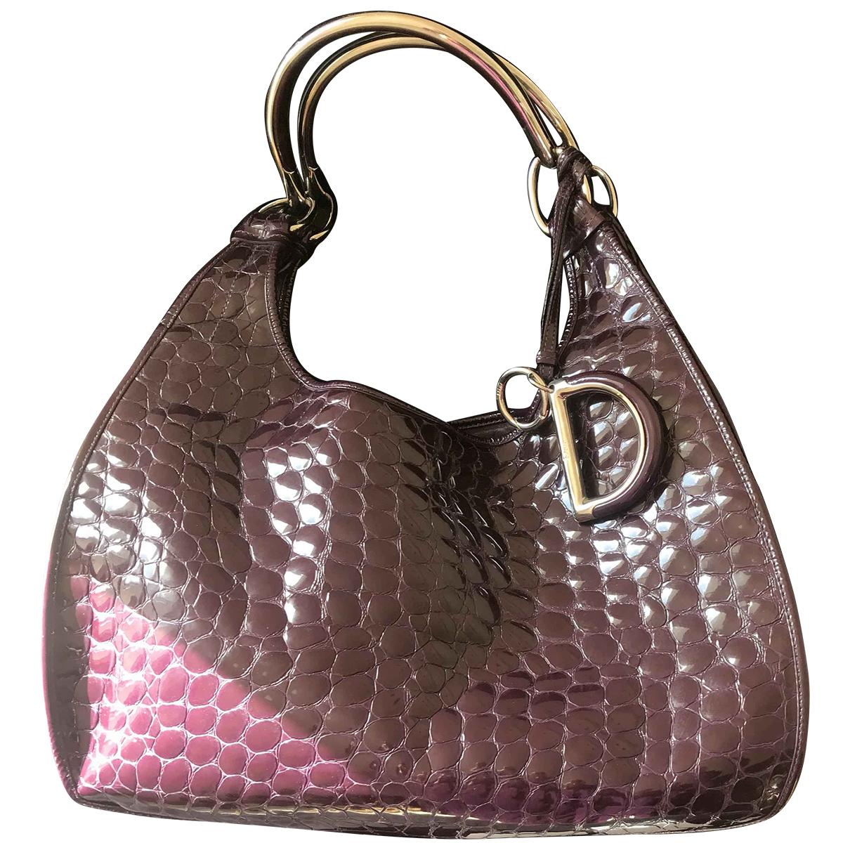 Dior - Sac a main 61 pour femme en cuir verni - violet