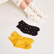 3 Paare Star & Moon Pattern Socken