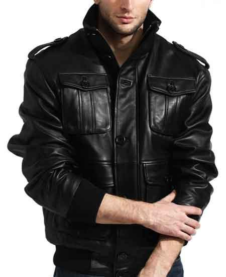 Black Lambskin Leather Shoulder Epaulets Military Safari Bomber Jacket