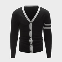 Men Striped Button Up Cardigan