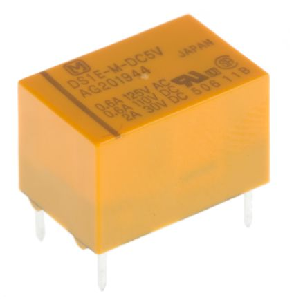 Panasonic , 5V dc Coil Non-Latching Relay SPDT, 2A Switching Current PCB Mount