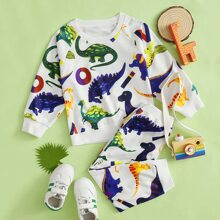 Toddler Boys Dinosaur Print Raglan Sleeve Sweatshirt & Sweatpants