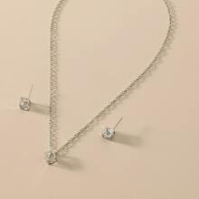 1 Stueck Halskette mit Kristall Dekor & 1 Paar Ohrstecker
