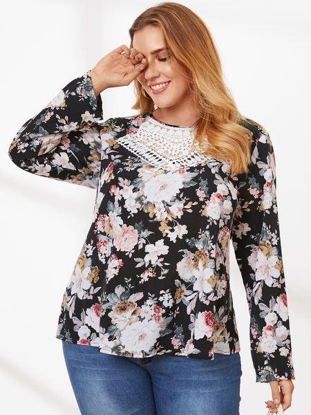 YOINS Plus Size Crew Neck Floral Print Lace Long Sleeves Blouse