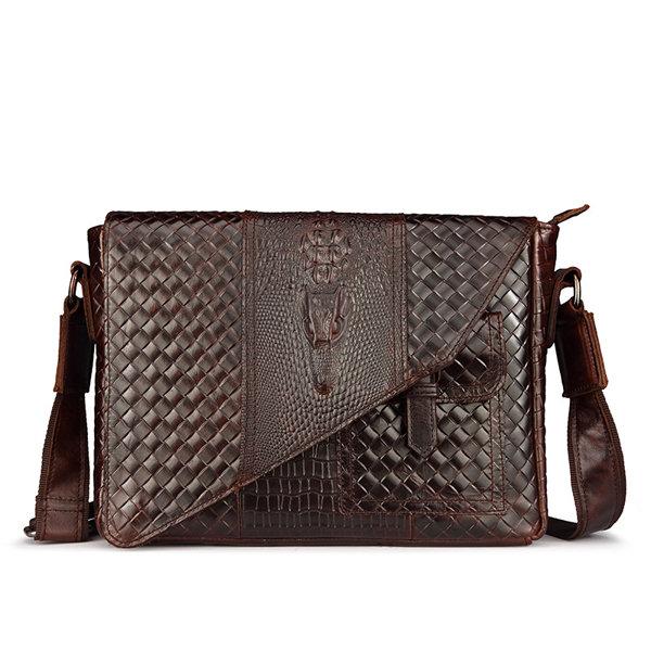 Crocodile Shoulder Bag Genuine Leather Crossbody Bag Business Horizontal Bag For Men
