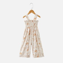 Girls Floral Print Shirred Detail Cami Jumpsuit