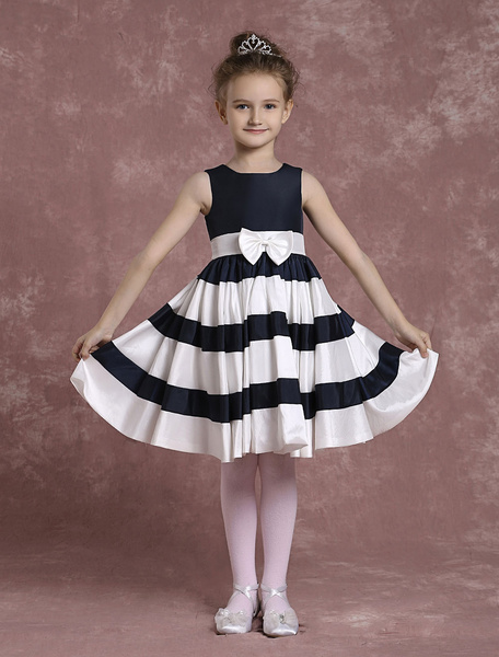 Milanoo Dark Navy Flower Girl Dress With Stripes Sash Taffeta