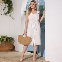 Plus Eyelet Embroidery Button Up Belted Dress