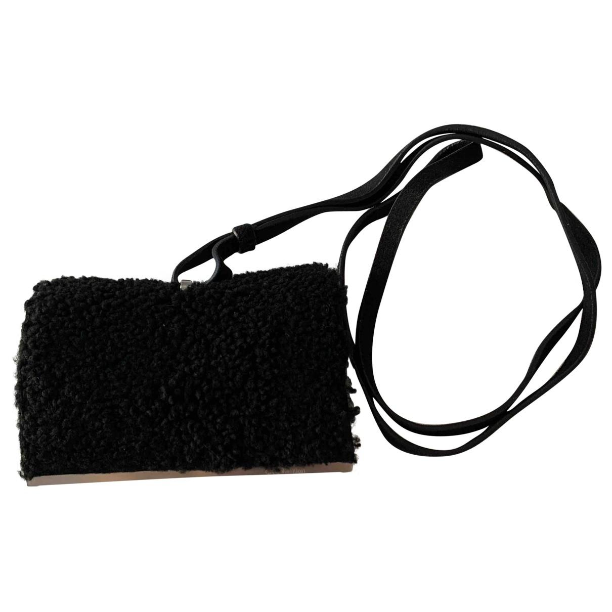 Calvin Klein - Pochette   pour femme en suede - noir