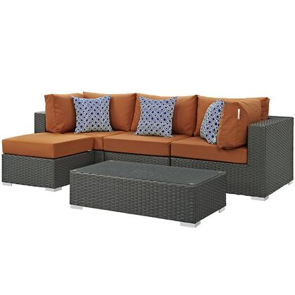 Sojourn Collection EEI-2385-CHC-TUS-SET 5 PC Outdoor Patio Sectional Set with Sunbrella  Fabric  Synthetic Rattan Weave  Powder Coated Aluminum Frame