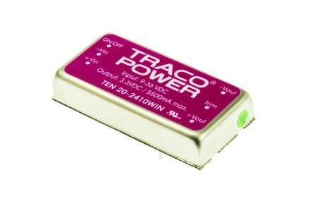 TRACOPOWER TEN 20WIN 20W Isolated DC-DC Converter Through Hole, Voltage in 9 → 36 V dc, Voltage out 3.3V dc